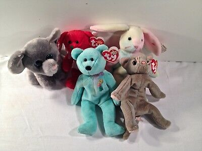 Ty Beanie Babies Lot of 6 New With Tags Whopper Ariel Hark Peanut Plush Toys