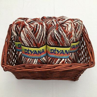 Diyana Orange, Black and Cream Multi Fancy Hand Knitting Yarn