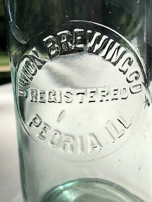 Rare Early 1900's Union Brewing Company Embossed Beer Bottle Peoria Illinois
