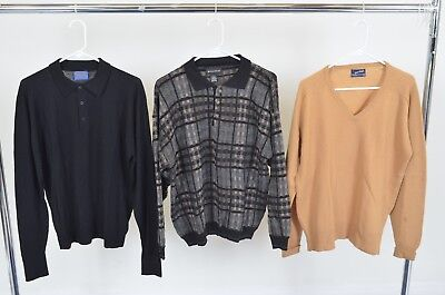 Lot of 3 Men's Wool Sweaters Size L Large Puritan V-Neck Pendleton Fine Collared