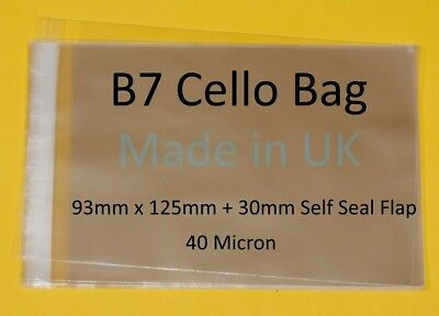 B7 - 93mm x 125mm + 30mm Lip - Clear Cello Card Bags - Cellophane Display Bag