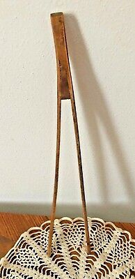 "ANTIQUE WOOD TONGS Primitive One Piece Pair of Wooden GRABBERS 11"" Medium Naturl"