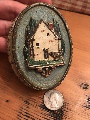 COUNTRY COTTAGE DOOR KNOCKER Cast Iron Hand Painted Antique Vtg Hubley 630