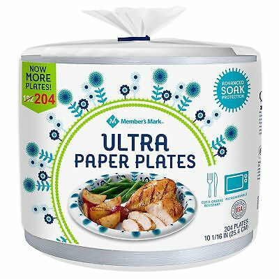 """Member's Mark Ultra Paper Plates 10-1/16"""" Picnic Event Microwavable 204ct."""