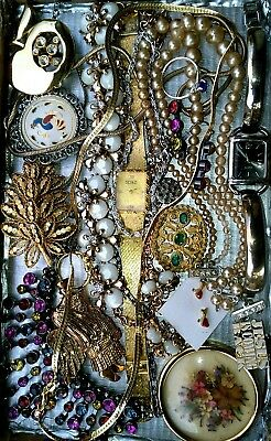 Huge Vintage & Now Jewelry Lot Estate Find Junk Drawer UNSEARCHED UNTESTED#1955