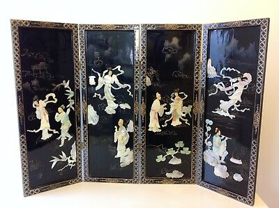 Vintage Chinese Mother of Pearl / Black Lacquer 4 Panel Screen