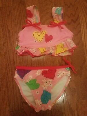 Girls pink red yellow blue green swim suit size 4