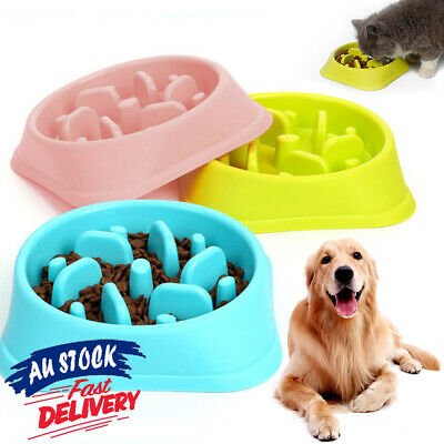 Pet Dog Cat Slow Food Healthy Anti Slip Gulp Feed Interactive Dish Bowl