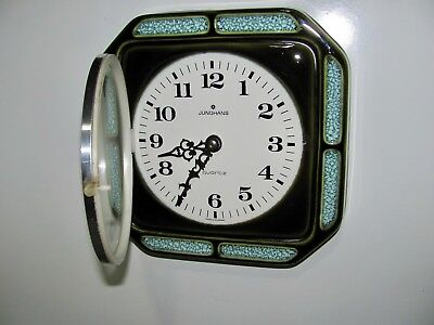 Vintage Ceramic Wall Clock Made in Germany by Junghans Mid Century Kitchen Clock