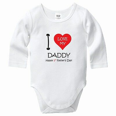 I Love you Daddy Happy First Fathers Day, Babygrow, Bodysuit, Romper, Baby