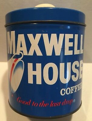 "Maxwell House Coffee Canister With Lid ""Good To The Last Drop"""