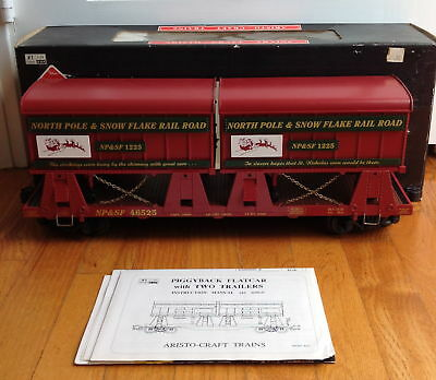 Aristocraft #1-Scale Xmas Art-46525 Piggyback Flat Car With Two Trailers