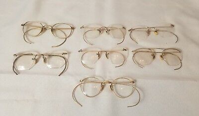 7 pairs Antique gold filled glasses. spectacles. A few loose parts