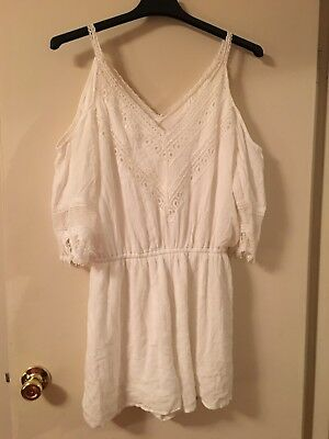 Maurices Womens White Shorts Romper Large