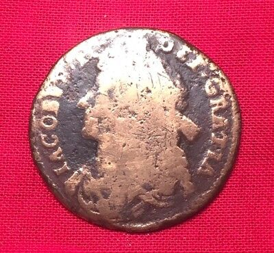 1686 James II Copper Halfpenny, 3 Yr King, Abdicated Throne Colonial Rare