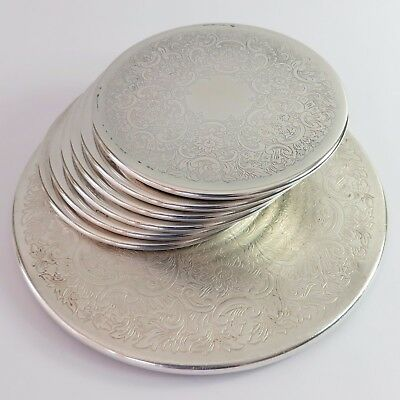 Vintage Strachan Silverplate Set of 7 Tumbler Coasters, Floral Design, Australia
