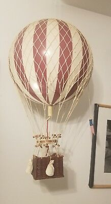 """Red & White Striped Hot Air Balloon Model 13"""" Hanging Aircraft Ceiling Decor"""