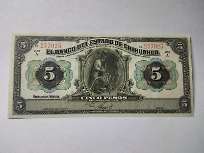 1913 Mexico Chihuahua 5 Pesos Miner Rare Currency Banknote