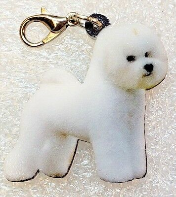 Bichon Frisé Dog Acrylic Double-Sided Bag Purse Charm Dangle Zipper Pull Jewelry
