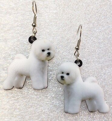 Bichon Frisé Dog Double-Sided Silver Hook Earrings Acrylic Jewelry