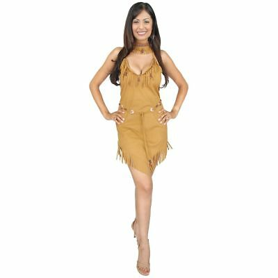 Adult Native American Pocahontas Womens Costume Indian Princess Lady Tan Beige