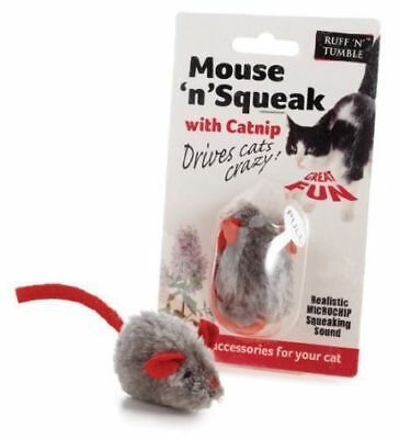 Sharples Ruff n Tumble Mouse n Squeak Hi Tech Catnip Cat Toy Squeaky Mouse