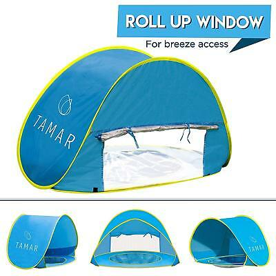 Baby Beach Tent Toddlers Tots Pop-Up Sun Shelter Free mini Pool Swimming Ring
