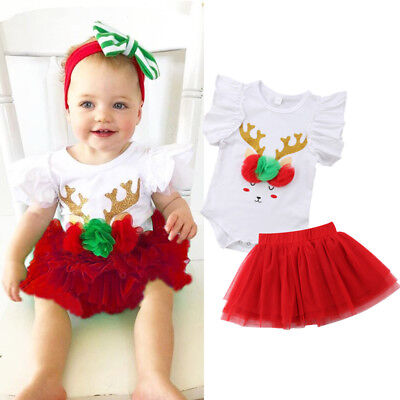 AU Newborn Toddler Baby Girl Dress Party Wedding Tulle Christmas Outfits Costume