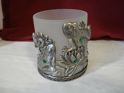 Frog Candle Holder Frosted Glass and Metal