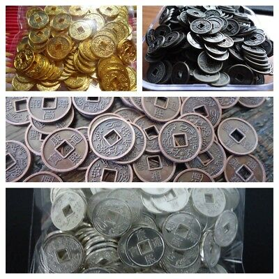 Small Gold Silver Copper Bronze Plated Metal Chinese Fortune Coins 10mm (M018)