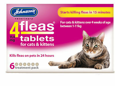 Johnsons Cat Flea 4Fleas Tablets Kills Fleas In 15 Mins 3 and 6 Pack Cats Kitten
