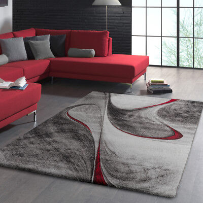 Modern Geometric Rug Grey Black And Red Mat Small Large