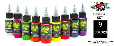 Mom's Millennium Tattoo Ink NUCLEAR Colors Set 9 Bottle Ultra Violet UV 1/2 oz