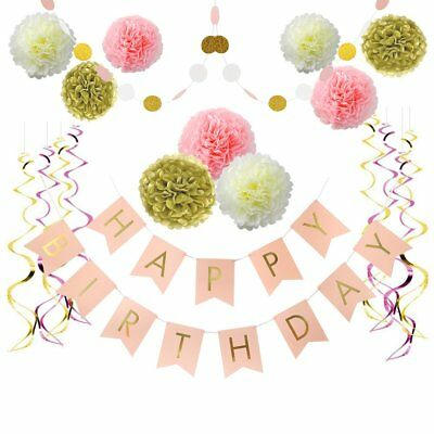 Litaus Pink and Gold Birthday Decorations, Pom Poms Flowers Kit ,Happy Birthday