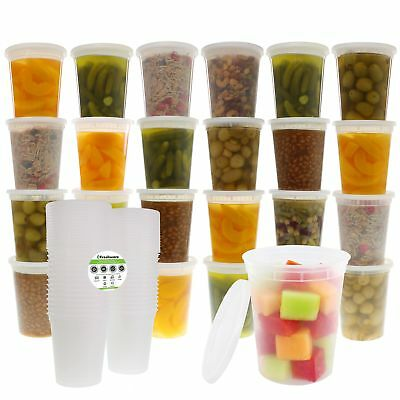 Freshware 24-Pack 32 oz Plastic Food Storage Containers with Airtight Lids -