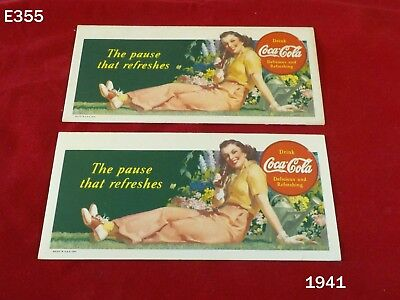 Vintage Coca Cola Coke The Pause That Refreshes Cardboard Paper Sign Ink Blotter