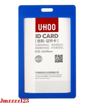 4x Plastic Business ID Badge Card Vertical Name Tag ID Card Holders