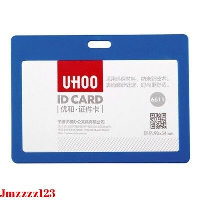 1x Plastic Business ID Badge Card Horizontal Name Tag ID Card Holder