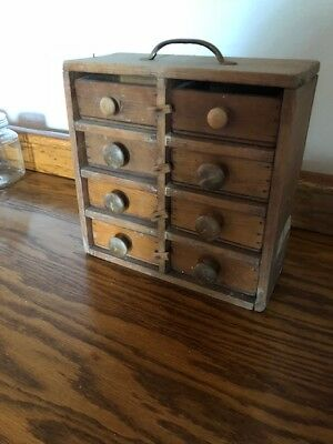Primitive Apothecary Wood Cabinet 8 Drawers Old SPICE Box Parts Bin Folk Art