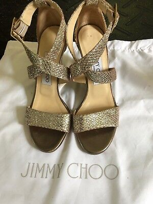 Jimmy Choo Luna Glitter Fabric Wedge Size 35 was $595 MUST SELL