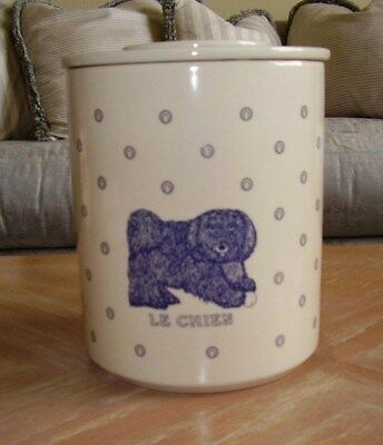 1984 TAYLOR & NG Le Chien Canister Cookie Jar Colbalt Blue & White Rare