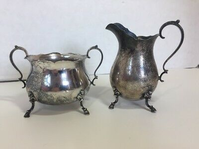 Sterling Creamer And Open Sugar In Grand Colonial 1942 By Wallace
