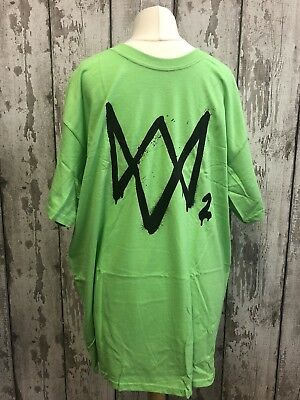 Watch Dogs 2 Green T-Shirt Official Promo Ubisoft Xbox One 360 PS4 PS3 Large L