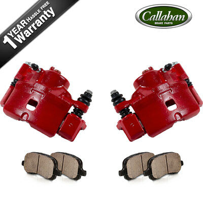 Front Red Brake Calipers and Ceramic Pads For CIVC COUPE SEDAN HATCHBACK CRX DX