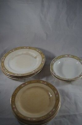 Lot of 10 Antique Vitaeous Edwin Knowles China Patented 23-18 Saucers bowls VTG