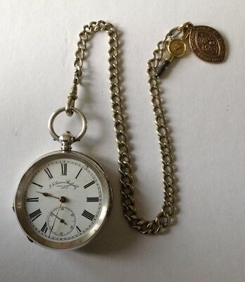 J.G.Graves solid silver pocket watch and pocket watch chain GWO vintage antique