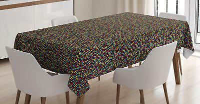 Vivid Colorful Doodle Tablecloth Ambesonne 3 Sizes Rectangular Table Cover Decor