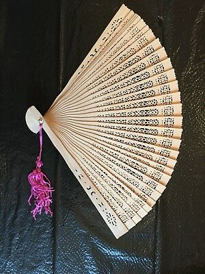 Antique Chinese Hand Crafted Deep Carved Wood Brise Fan w Glass Case