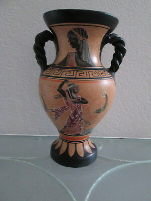 Greek Terracotta Decorated Vase ~ Hand Made ~ Circa 1978 ~ Classic Greek Designs