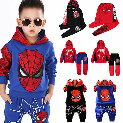 Spiderman Tracksuit Outfits Kids Boys Baby Hoodies Tops Pants 2PCS Clothes Sets